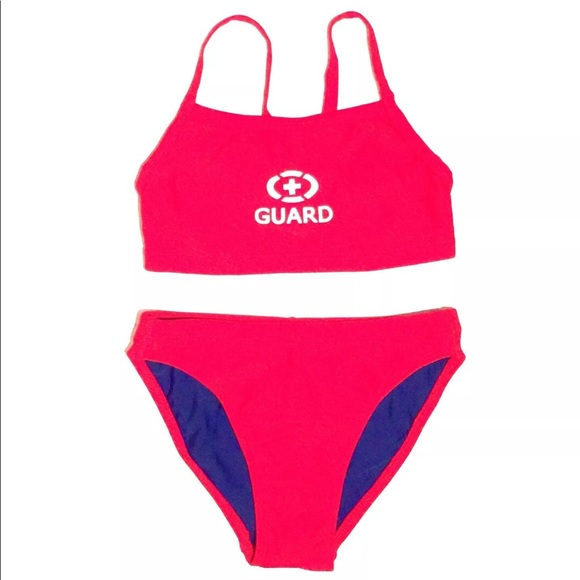 fbaf6393cc Lifeguard 2-piece Red Swimsuit Size 4 Cross Back